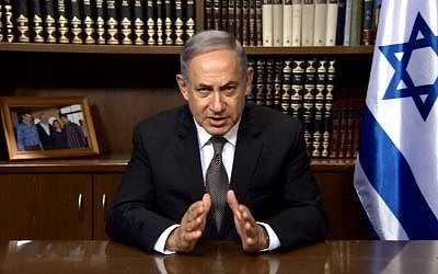 Prime Minister Benjamin Netanyahu speaks on video about recent footage showing a Palestinian father telling soldiers to shoot his son, August 3, 2016. (screen capture: YouTube)
