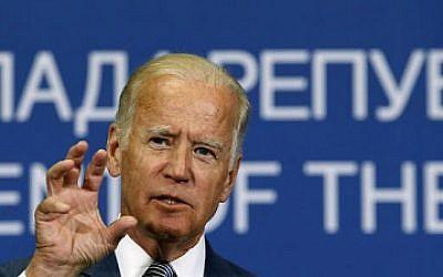 File: Vice President Joe Biden gestures during a news conference in Belgrade, Serbia, Aug. 16, 2016. (AP/Darko Vojinovic)