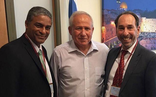From left to right: Cuban dissident Oscar Biscet, MK Avi Dichter, and US-Cuban scholar Jose Azel, in Jerusalem, August 2016 (Lily Azel)