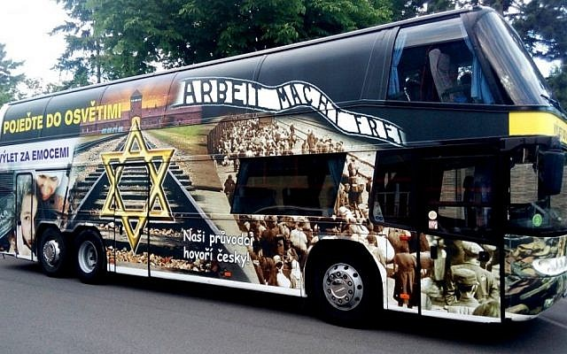 A bus in the Czech Republic advertising the Nazi death camp Auschwitz as fun holiday destination that was originally made as a film prop seen on the website of the Auto Xaver bus company on August 16, 2016. (autoxaver.com)