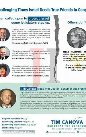 Florida congressional candidate Tim Canova's flyer linking himself to top Democrats who opposed the Iran nuclear deal. (Courtesy)