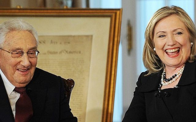 US Secretary of State Hillary Clinton and former US Secretary of State Henry Kissinger at the Department of State in Washington, DC, on April 20, 2011 (JEWEL SAMAD/AFP/Getty Images via JTA)