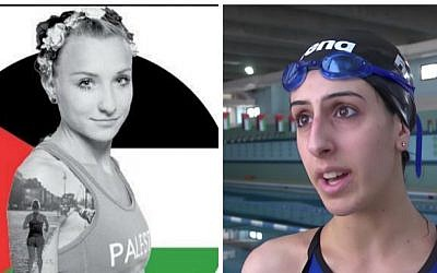Image of two Palestinian Olympic athletes.  On the right is Mayada Al-Saya, 23 years old, who will be the first Palestinian athlete to run in the 42 km Olympic marathon. She was born, raised and lives in Germany. On the left is Palestinian Olympic swimmer Mary al-Atrash, a native of Bethlehem. (Courtesy: screenshots)
