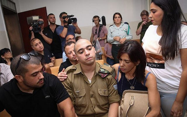 Elor Azaria at a court hearing at a military court in Jaffa, August 28, 2016. (Miriam Alster/Flash90)