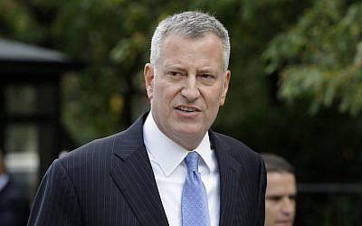 New York City Mayor Bill de Blasio at City Hall, Sept. 21, 2015. (Seth Wenig/AP)