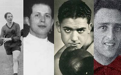 Jewish Olympians murdered during the Holocaust included, from left, Lilli Henoch, Attila Petschauer, Victor Perez and Eddy Hamel. (Public domain)