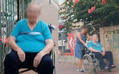 An elderly woman was tied in her wheelchair to a fence outside a Ramat Gan shopping mall for some 40 minutes, on August 2, 2016, sparking a police investigation after a passerby snapped a picture. (Channel 2)