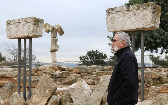Kibbutz Secretary Jossef (Joha) Engel next to ruins dating back to the 8th century B.C.E. at Kibbutz Ramat Rachel. (Shmuel Bar-Am)