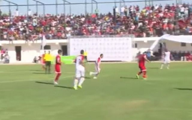 Ahli al-Khalil defeats Shabab Khan Younis 1-0 in Gaza in the first leg of the Palestine Cup 2016 (Screen capture: Youtube)