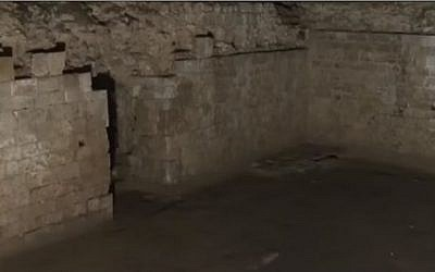 The interior of the Sublime House, believed to be the seat of a 12-century yeshiva in the city of Rouen, France. (screen capture: YouTube)