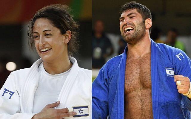 Judoka Yarden Gerbi celebrates after winning a bronze medal on August 9, 2016, left, and Or Sasson celebrates after securing his bronze medal in judo on August 12. (Jack Guez, Toshifumi Kitamura/AFP)
