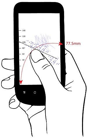 BioCatch hand size measurement via device holding (Courtesy)