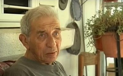 Late Israeli composer Nahum Heiman seen during a July 2013 interview. (screen capture: Channel 2)