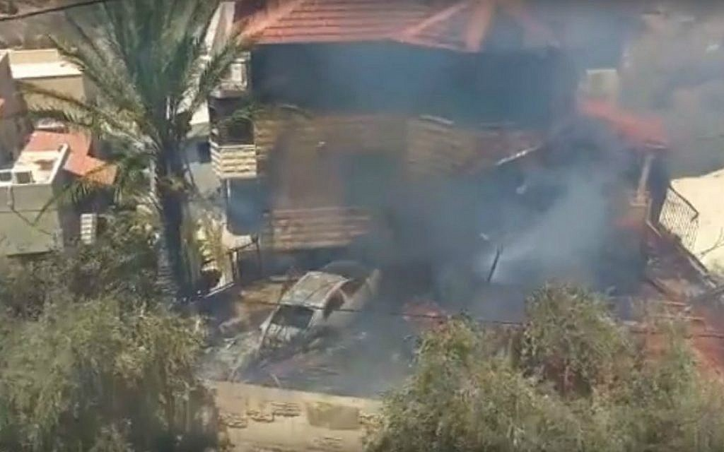 An Israel Aerospace Industries drone crashes into a home in the northern village of Zalafa, in Wadi Ara, August 9, 2016. (screen capture: YouTube)
