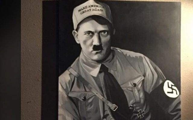 """A painting of Adolf Hitler wearing a hat with Donald Trump's campaign slogan, """"Make America Great Again,"""" by Portland Jewish artist Matthew Abelman, was been taken down from the Night Light Lounge on August 7, 2016. (screen capture: KATU)"""