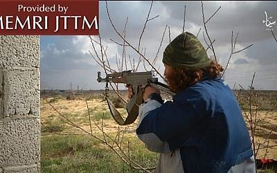An image taken from a video clip released by the Sinai affiliate of the Islamic State group on August 1, 2016. (MEMRI)