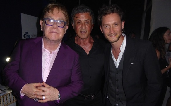 Israeli mentalist Lior Suchard (right) with Elton John and Sylvester Stallone (courtesy)