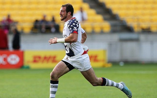Zack Test of Team USA playing at the 2016 Wellington Sevens pool match against France in New Zealand, Jan. 30, 2016. (Hagen Hopkins/Getty Images)