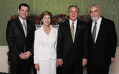 Kory (left) and Philip Bardash at the annual White House Chanukah Dinner with President Bush and the First Lady in 2012 (Facebook)