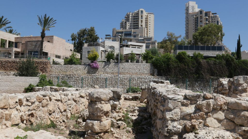 The ruins of a 4,000 year old Canaanite village next to the Malha Shopping Mall. (Shmuel Bar-Am)