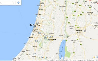 Google Maps does label Palestine or the West Bank. (Screen capture: Google Maps)