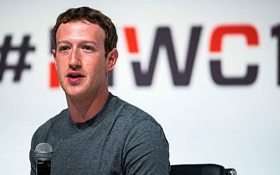 File: Facebook CEO Mark Zuckerberg speaks at the Mobile World Congress in Barcelona, Spain, March 2, 2015. (David Ramos/Getty Images via JTA)