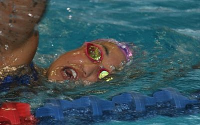 Andrea Murez training in the pool at the Wingate Institute in Netanya, Israel. (Hillel Kuttler/via JTA)