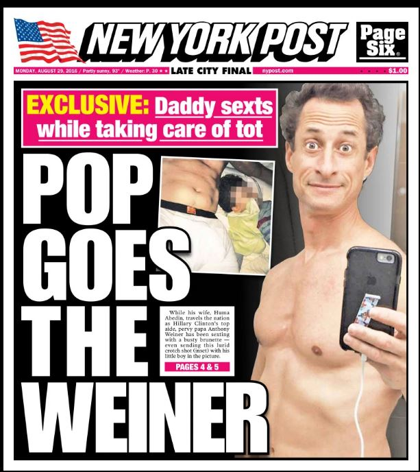 The cover of the New York Post, August 29, 2016. (screen capture: New York Post)