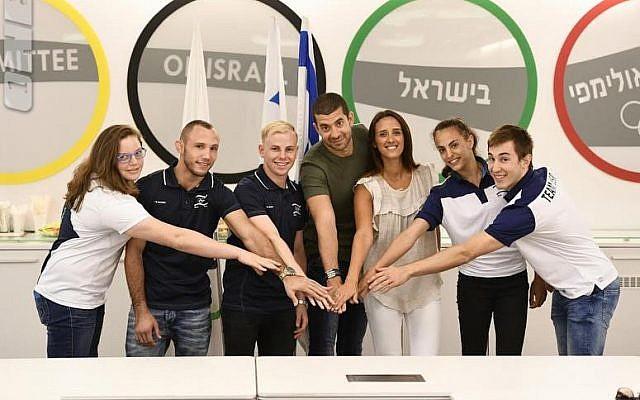 From left to right: Raz Hershko, Andrey Tsaryuk, David Albrdian, Oren Shabat Laurent, Sivan Laurent Shabat, Linoy Ashram and Yuval Freilich (Photo Courtesy Olympic Committee of Israel)