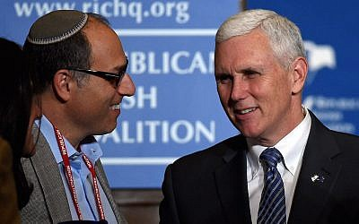 Gov. Mike Pence of Indiana at the Republican Jewish Coalition spring leadership meeting in Las Vegas, April 25, 2015. (Ethan Miller/Getty Images)