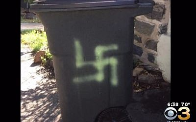 A swastika was painted on the trash can of Esther Cohen-Eskin in Haverton, Philadelphia August 19, 2016. (CBS3)
