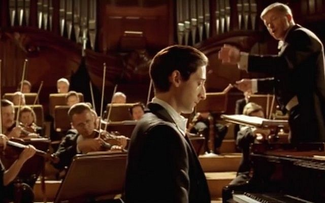 Adrien Brody appears as Wladyslaw Szpilman in a still image from the Holocaust movie 'The Pianist' (screen capture: YouTube)