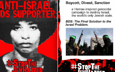 A poster placed on campuses by the David Horowitz Freedom Center beginning in February 2106 features an image of '60s-era radical Angela Davis and messages condemning the boycott movement against Israel. (Courtesy: David Horowitz Freedom Center)