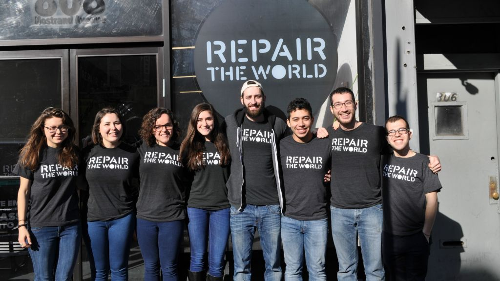 2016 Repair the World Fellows in front of their Crown Heights headquarters in Brooklyn, New York. (Repair the World/via JTA)