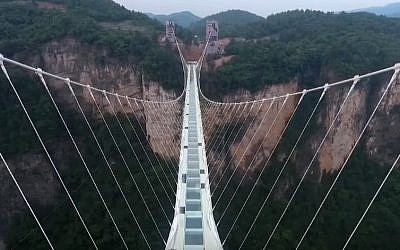 China's Zhangjiajie Grand Canyon bridge (YouTube screenshot)