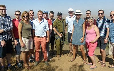 A delegation of Conservative Scottish lawmakers during an IDF strategic briefing at Mount Bental, overlooking the Syrian border, August 2016 (Elkie Myers/CFI)