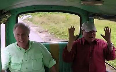 Henry Winkler (L) and William Shatner in 'Better Late Than Never' (NBC/YouTube screenshot)