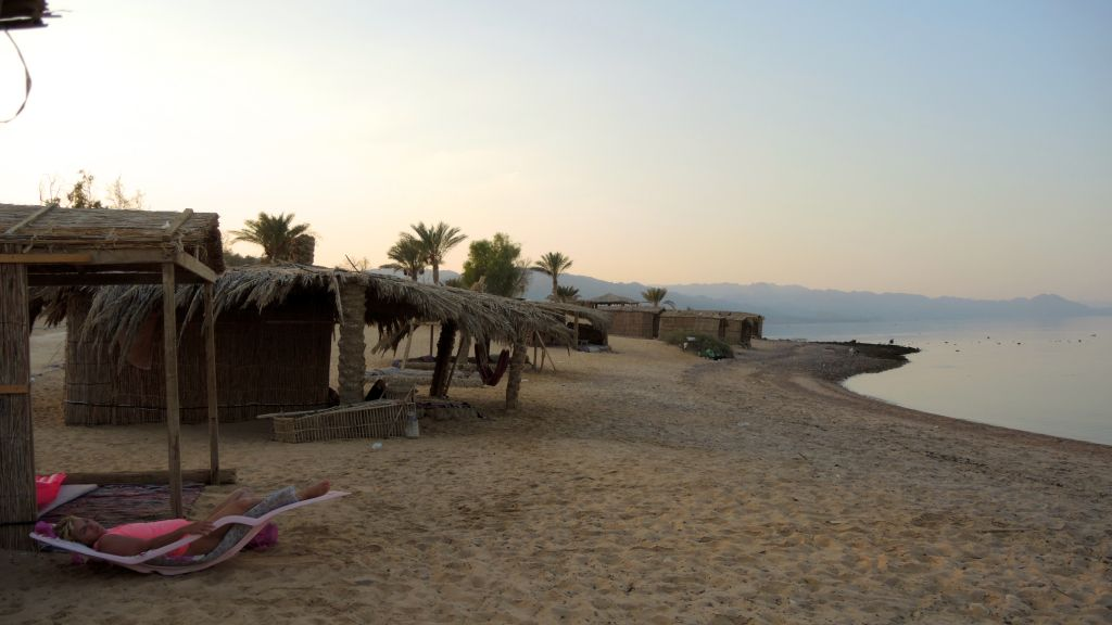 A tourist relaxes in Sinai on August 13, 2016. (courtesy Tal Shavit)