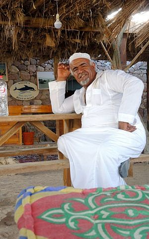 Salem Alsakhn, 44, the Bedouin owner of Big Dune Camp, a popular beach with Israelis near the town of Nuweiba, on August 13, 2016. (courtesy Tal Shavit)