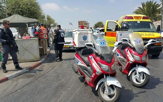 Rescue personnel attend the scene of a stabbing attack in the A-Tur neighborhood of East Jerusalem on August 11, 2016 (photo credit: United Hatzalah)