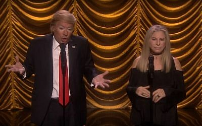 Jimmy Fallon as Donald Trump and Barbra Streisand performing a duet on the Tonight Show on Thursday, August 25 2016. (Screen capture YouTube)