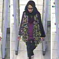 Security footage of three British schoolgirls, left tor right, Kadiza Sultana, Shamima Begum, and Amira Abase, passing through security checks at Gatwick airport. (London Metropolitan Police)