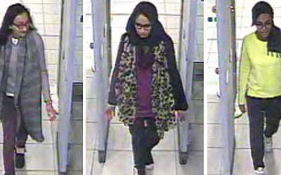 Security footage of three British schoolgirls, left tor right, Kadiza Sultana, Shamima Begum, and Amira Abase, passing through security checks at Gatwick airport on their way to join Islamic State. (London Metropolitan Police)