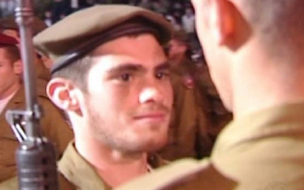 Michael Levin at his IDF swearing-in ceremony (Lone Soldier Center)