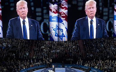 Donald Trump speaking at the American Israel Public Affairs Committee (AIPAC) 2016 Policy Conference at the Verizon Center in Washington, DC, March 21, 2016. (Saul Loeb/AFP/Getty Images via JTA)