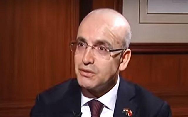 Turkish Deputy Prime Minister Mehmet Simsek  (screen capture: YouTube)