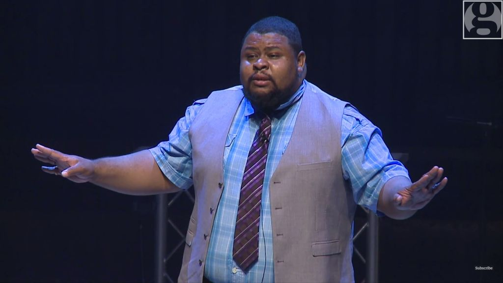 Chef Michael Twitty speaking at the Observer Ideas festival 2014 at the Barbican in central London. (Screenshot: YouTube)