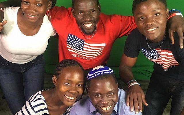 Clockwise from top left: Sarah Nabaggala, Yonatan Loukato, Samuel Matiya Kigondere, Yoash Mayende and Shoshana Nambi were among 13 Ugandan Jews who worked as staff members at Reform Jewish summer camps in the United States. (Jill Peltzman for the URJ/via JTA)