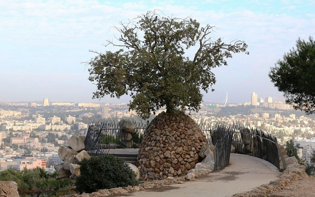 The Yair Overlook, named for a Ramat Rachel resident killed in a military accident in 1966. (Shmuel Bar-Am)