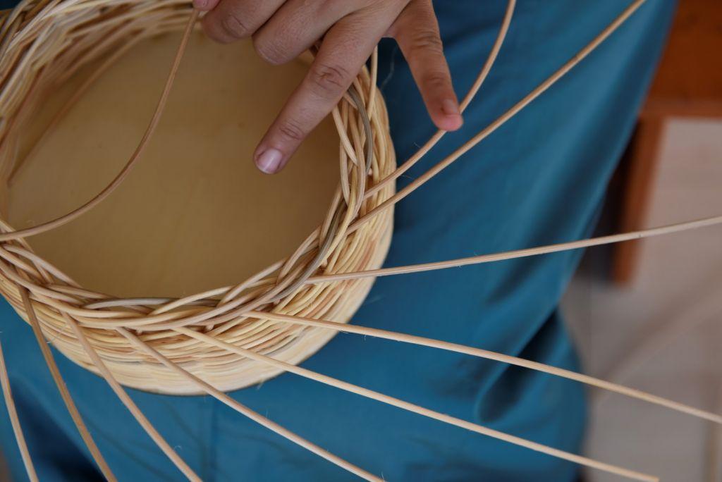 Weaving baskets at Sindyanna in Kfar Kana (Courtesy Noa Kuzak)
